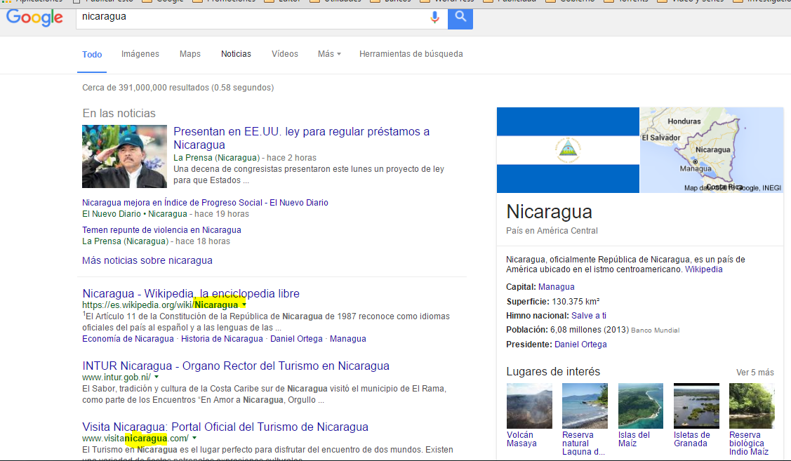 Busqueda de Nicaragua en permalink Google