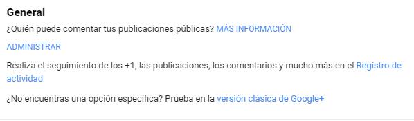 Fragmento de configuración de usuario Google+
