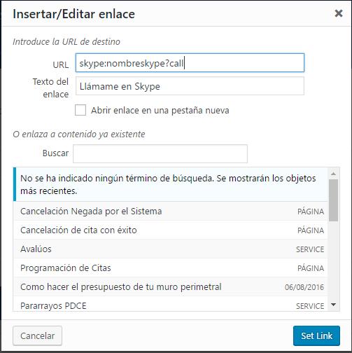 Enlace Acción de Llamada a Skype desde WordPress