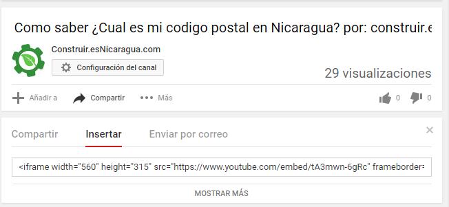 Codigo del Video de Youtube