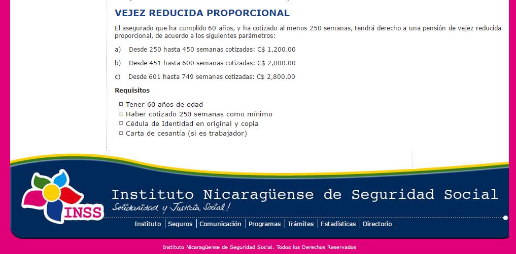 Pensión Reducida en el Instituto Nicaraguense de Seguridad Social