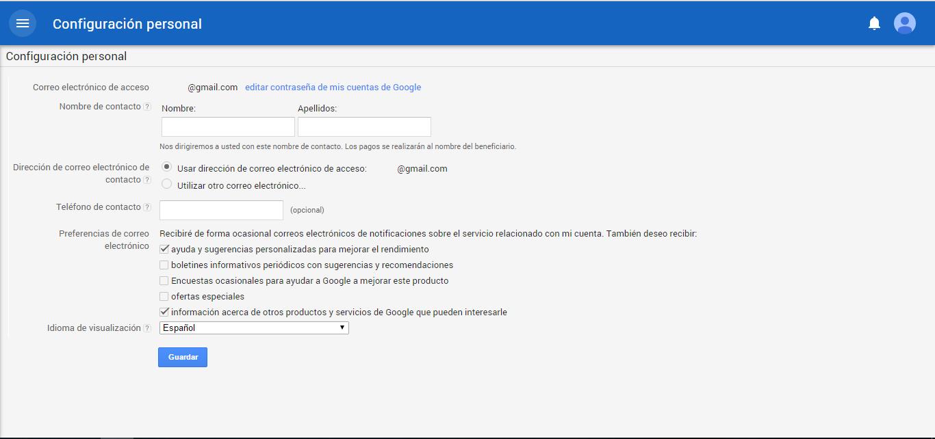 Ventana Una vez guardado el PIN de Google Adsense