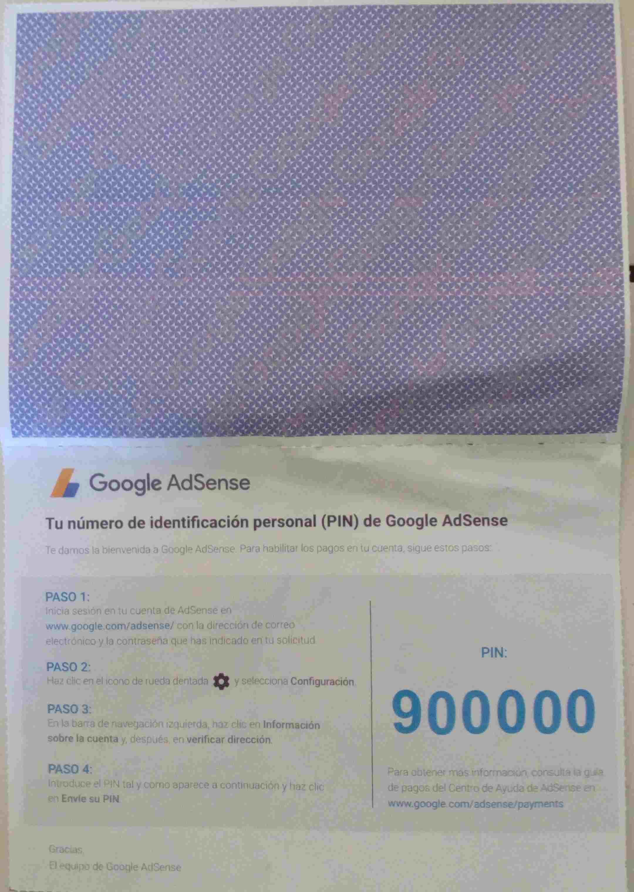 Vista Interna Correo con PIN de Google Adsense