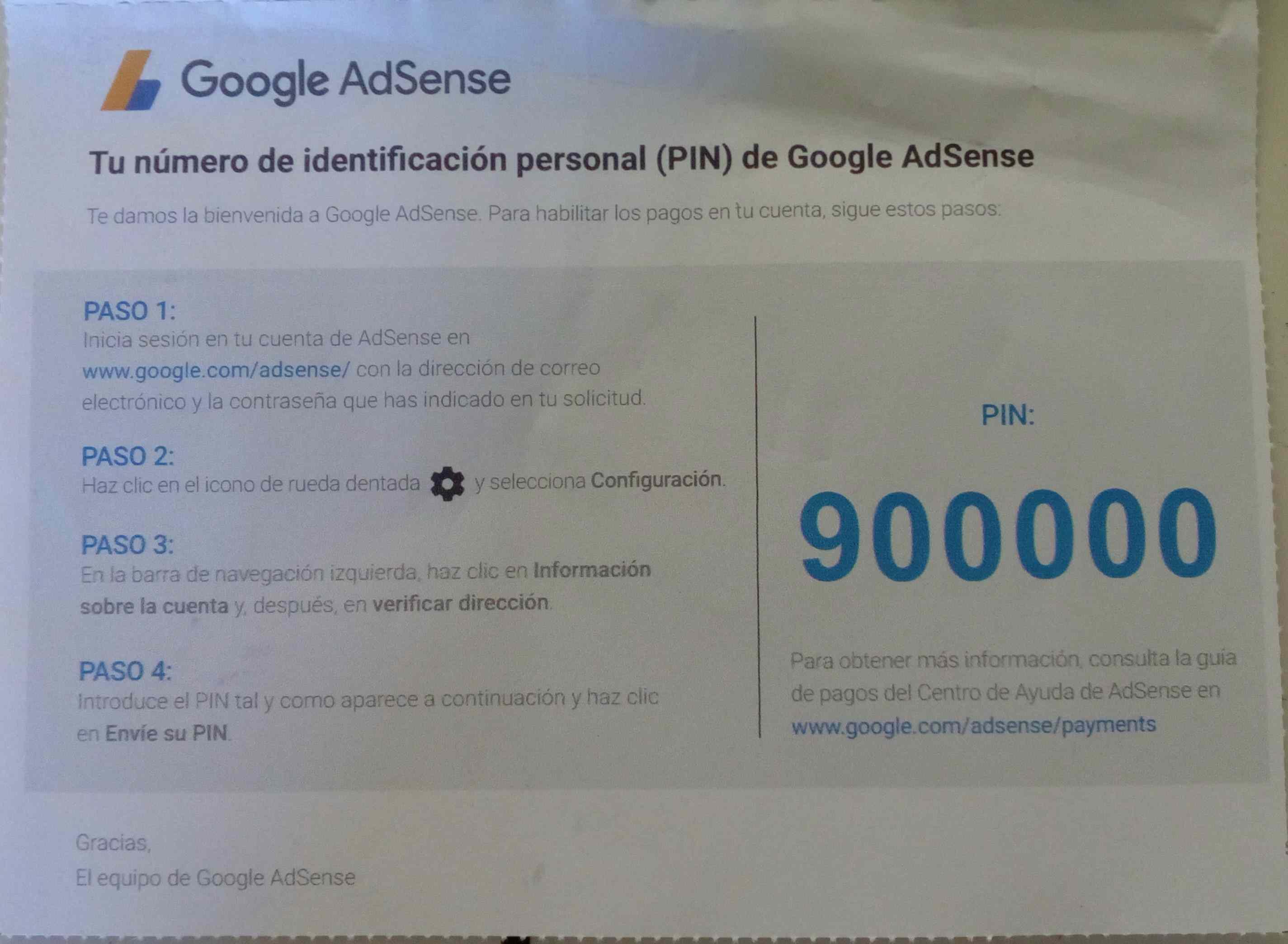 Vista detalla del PIN de Google Adsense y sus Indicaciones