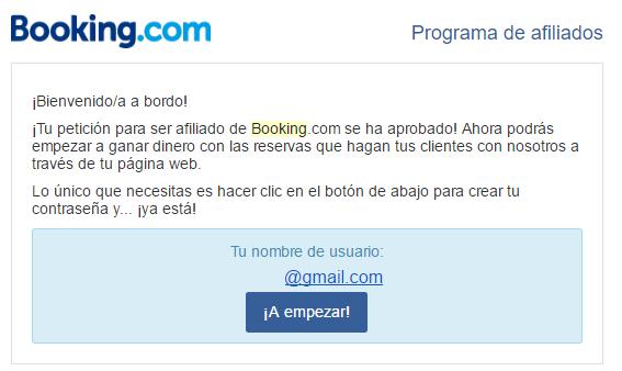 Email de aceptación de Booking.com