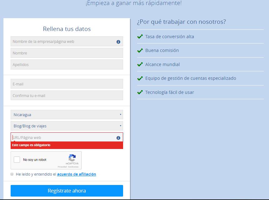 Ficha de registro de Afiliado en Booking.com