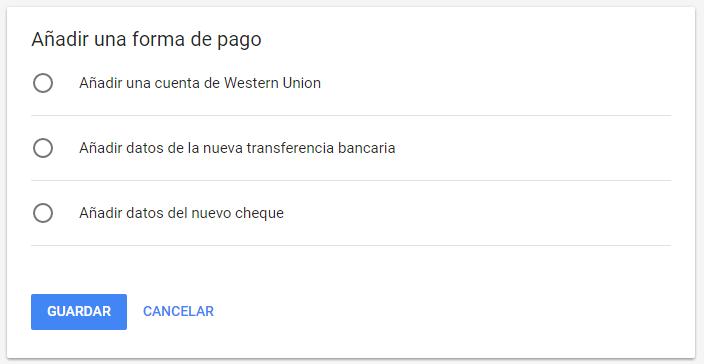 Formas de pago de Google Adsense