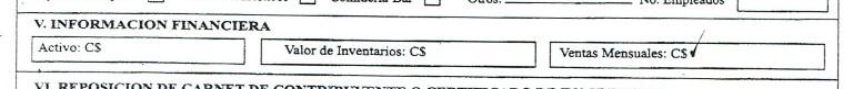 Formuario de Inscripción RUC - Fragmento V