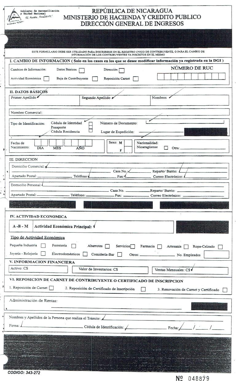 Formulario de Inscripción RUC dirección General de Ingresos Nicaragua