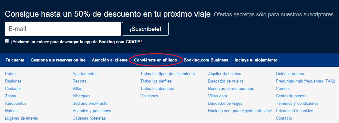 Parte inferior página principal de Booking.com