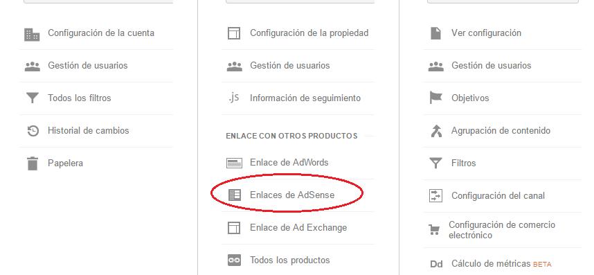 2. Pestaña administrador de Google Analytics.