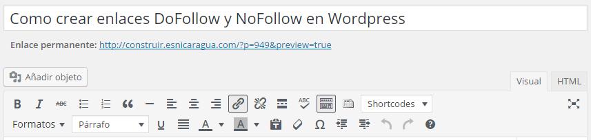 Barra de edicion clasica de wordpress