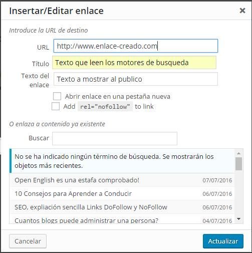 Cuadro WordPress Title and nofollow