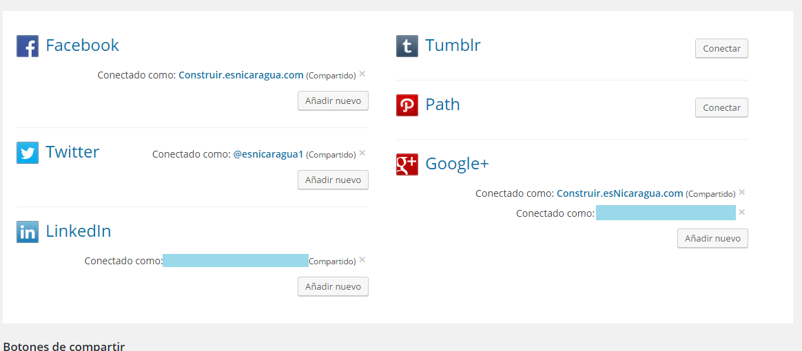 Añadir Redes sociales en Jetpack