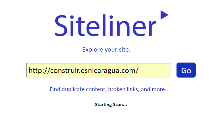 1. Siteliner SEO Tool Starting Scan