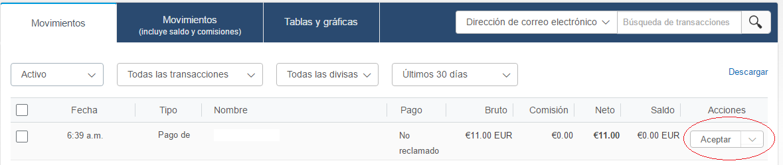 Hacer Clic en Aceptar para reclamar pago