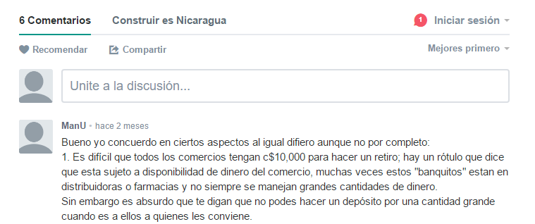Vista sencilla de Disqus comments