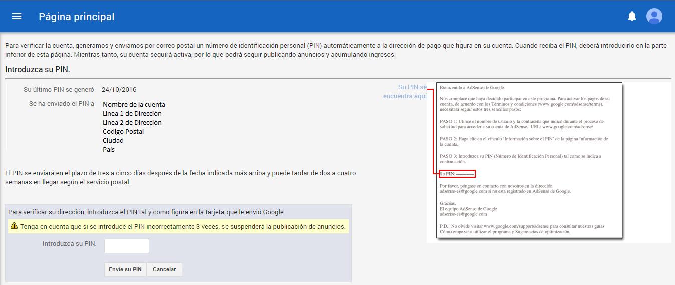 Pagina para introducir PIN de Google Adsense