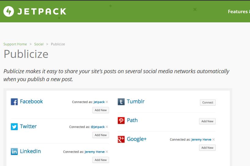 Publicize de Jetpack