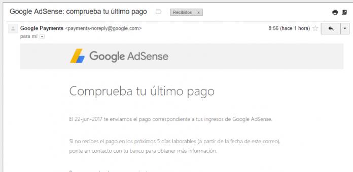 Notificación de Envió de Pago de Google Adsense