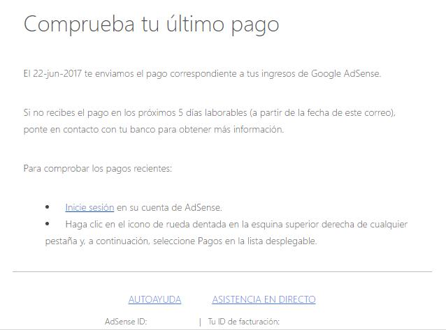 Notificación de Pago de Google Adsense