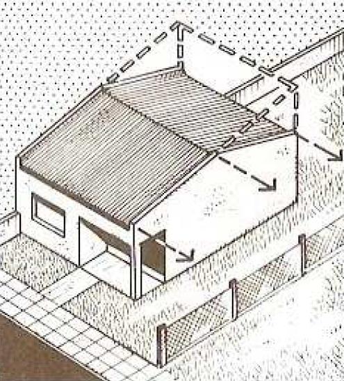 Casa a mano Alzada con proyeccion de techo
