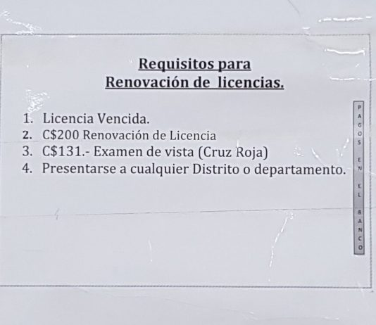 Requisitos Licencia de Conducir Renovación Nicaragua
